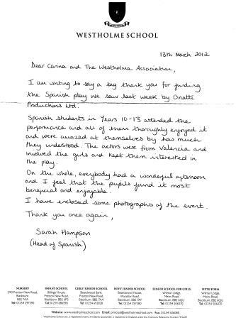 Thank yous westholme school the spanish department watched a spanish play during the spring term that was funded by the association below is the thank you letter and some photos of expocarfo Images