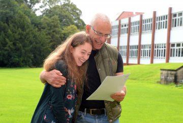 Westholme School A-Level results day - (l-r) Nicola Judah with dad Matthew Judah