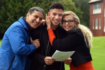 Westholme School A-Level results day - (centre) Shuresh Ghanbari - Saheliu with (left) dad Shahrokh Ghanbari - Saheliu and (right) mum Azita Ghanbari - Saheliu