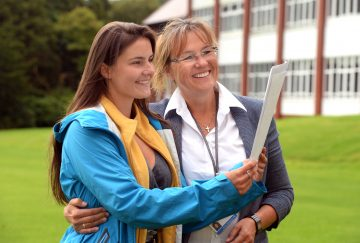 Westholme School A-Level results day - (l-r) Ute Schmitgen with her mum Catja Schmitgen