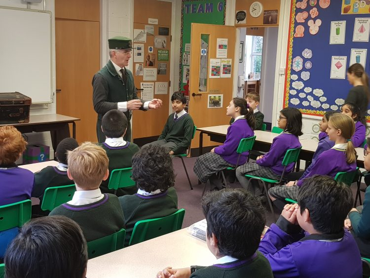 'History Man' entertains the pupils with an interactive history lesson