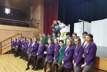 Westholme pupils stand in front of the stage at the Croston Theatre