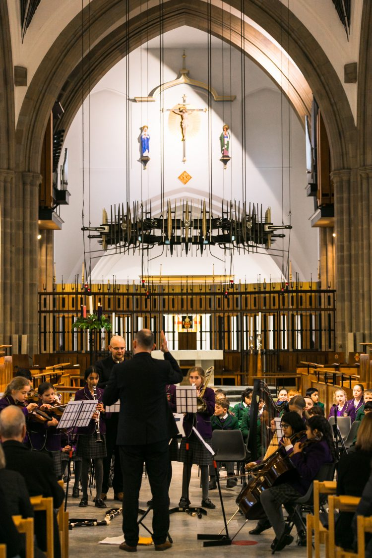 Westholme junior school orchestra performs at carol service in Blackburn Cathedral