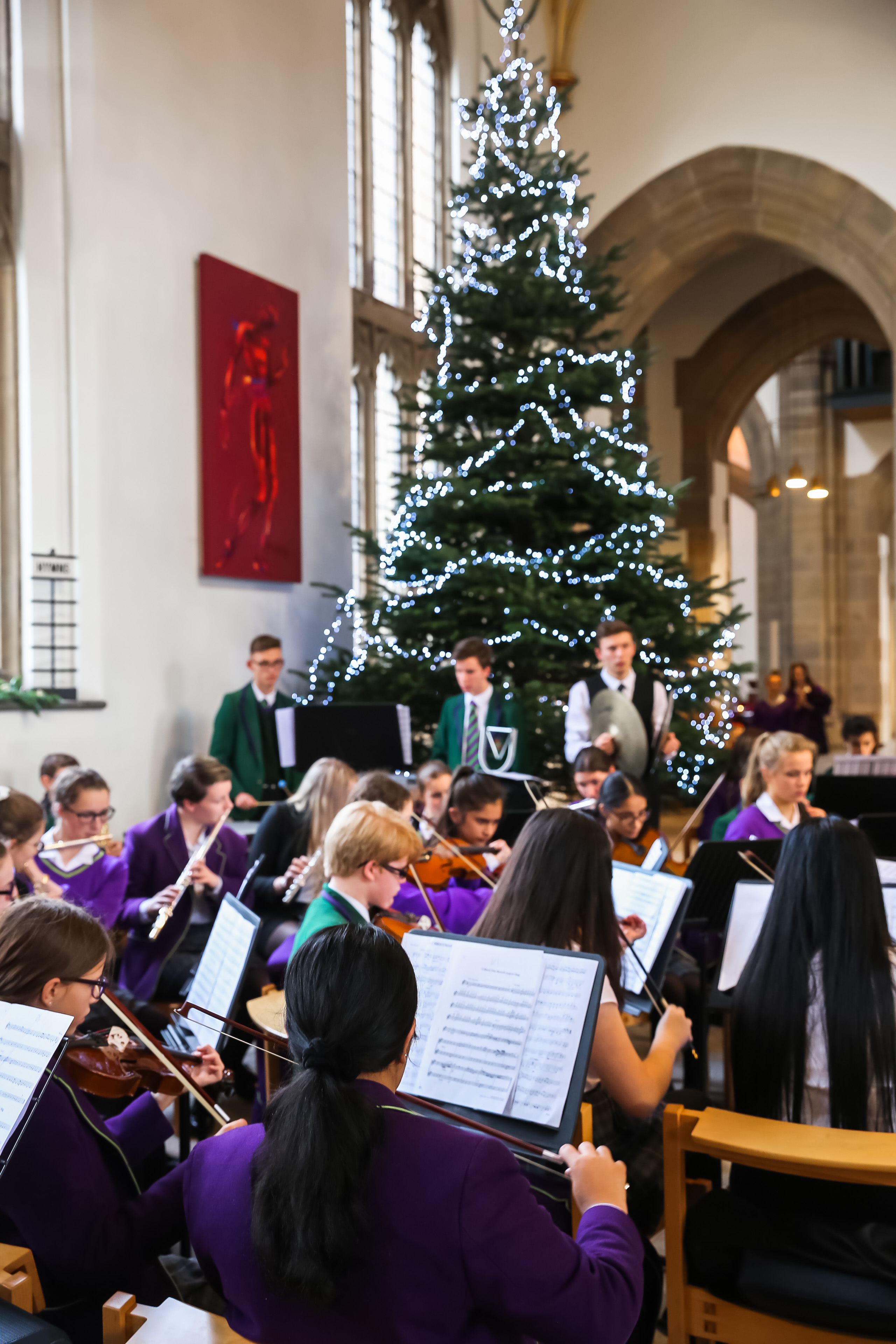 Members of the school orchestra perform at the Westholme senior school carol service at Blackburn Cathedral