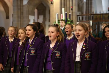 Members of the Westholme senior school choir perform at the carol service in Blackburn Cathedral