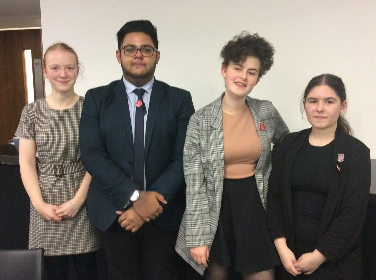 Team of four Westholme sixth form students before the UKMT Senior Regional Finals at Lancaster University