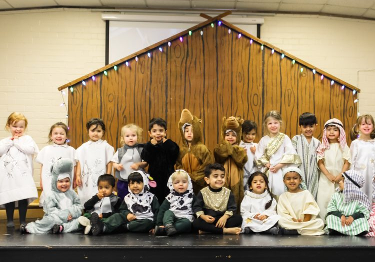 Westholme nursery and pre school students on stage for their nativity play