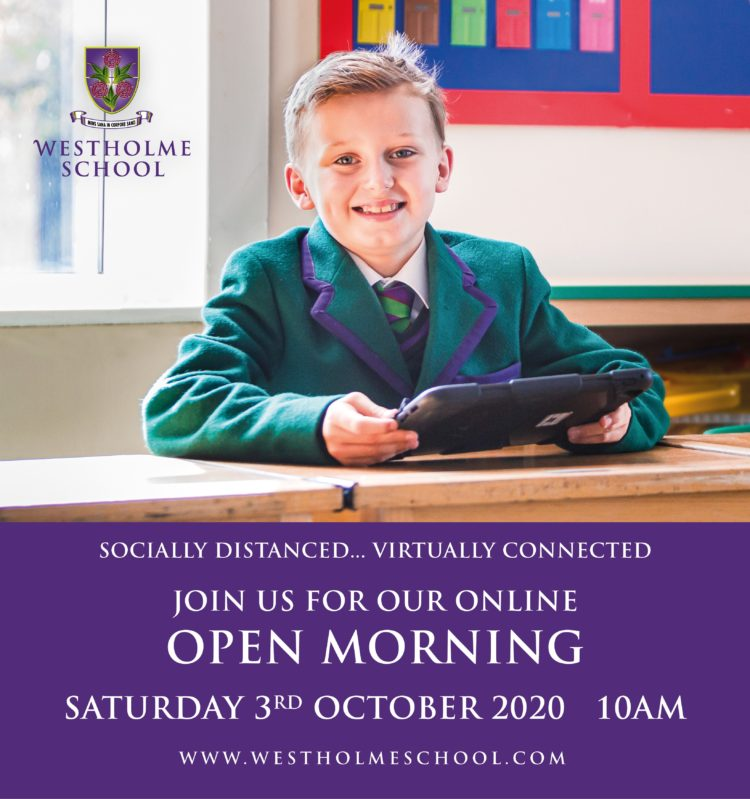 Promotional image for school virtual open morning October 3rd 2020 featuring junior school pupil